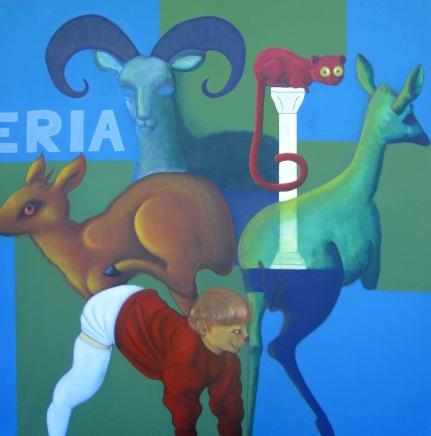 Shop acrilico e olio su tela 2009 181x181 cm