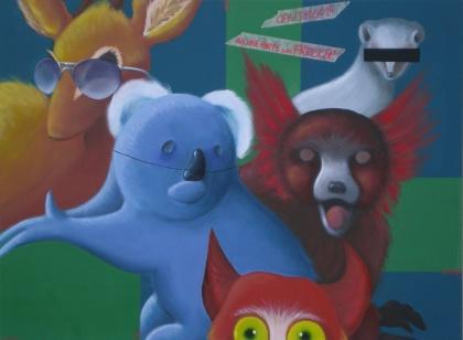 Carnival instinct acrilico e olio su tela 2009 80x60 cm