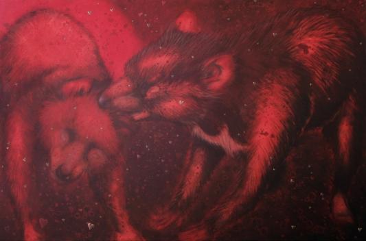 Dans le boudoir acrilico e olio su tela 2010 120x80cm