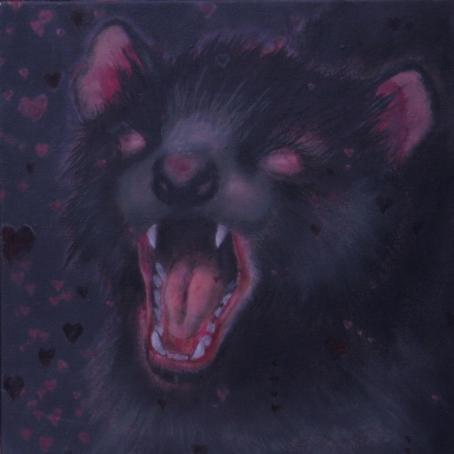 Tasmanian devil acrilico e olio su tela 2010 30x30cm