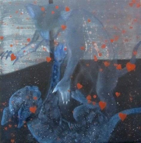Catfight acrilico e olio su tela 2010 30x30 cm