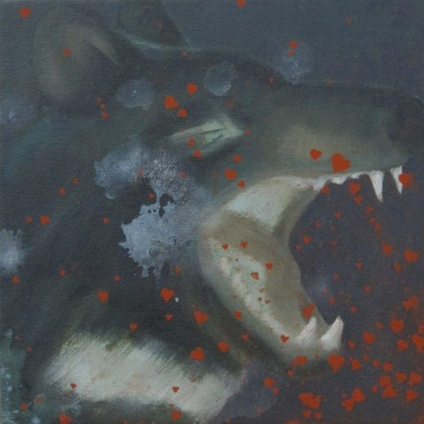 Tasmanian devil acrilico e olio su tela 2010 20x20cm