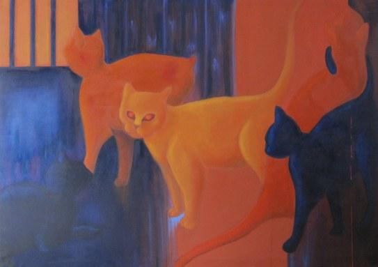 Nella cantina di un palazzone acrilico e olio su tela 2009 185x130cm